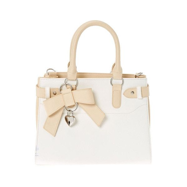 White Cream Tote Bag Claires 35 Liked On Polyvore