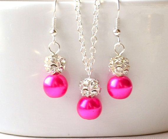 Bridesmaids gift set of fuchsia pink necklace and by LaurinWedding, $14.00