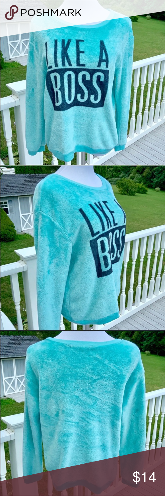 Like A Boss Sweatshirt A Warm Turquoise Sweatshirt With Like A Boss Across The Front With A Scoop Neck And In 2020 Sweatshirts Hoodie Sweatshirts Sweatshirt Tops [ 1740 x 580 Pixel ]