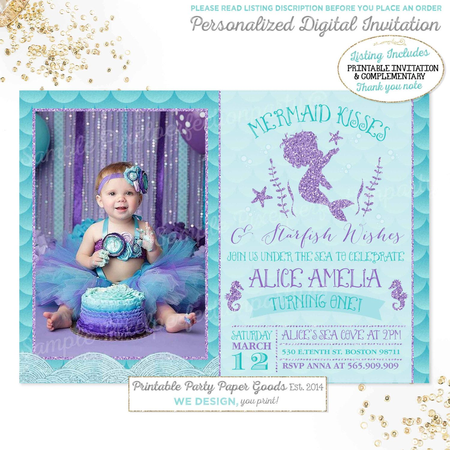 Mermaid Invitation 1st Birthday Kisses And Starfish Wishes Under The Sea