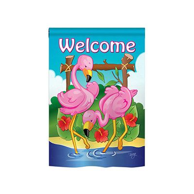 Breeze Decor Flamingos 2 Sided Polyester Garden Flag Wayfair In 2020 Breeze Decor Outdoor Flags Garden Flags