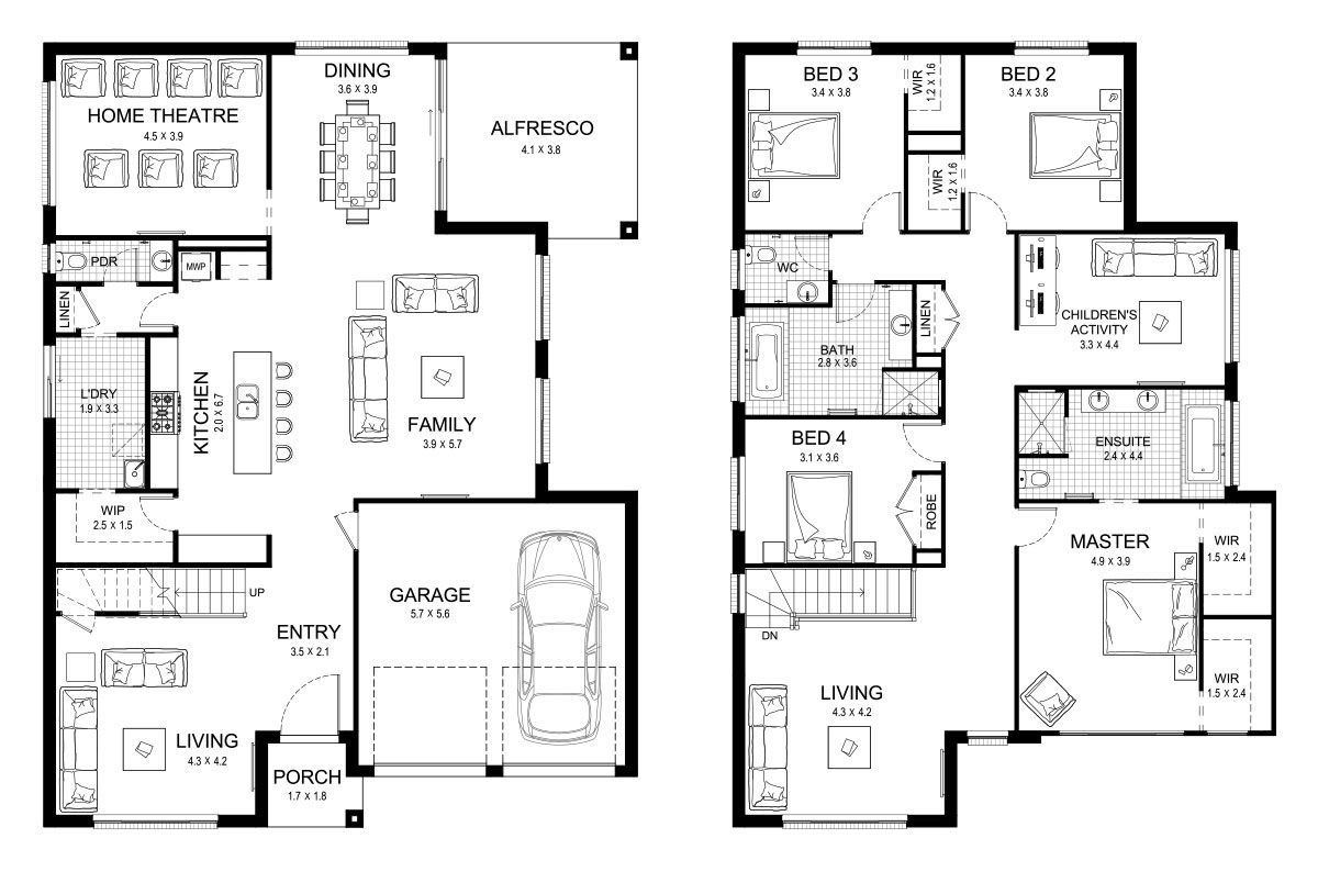 Trinity 39 Double Level Floorplan By Kurmond Homes New Home Builders Sydney Nsw Floor Plans Basement House Plans House Floor Plans