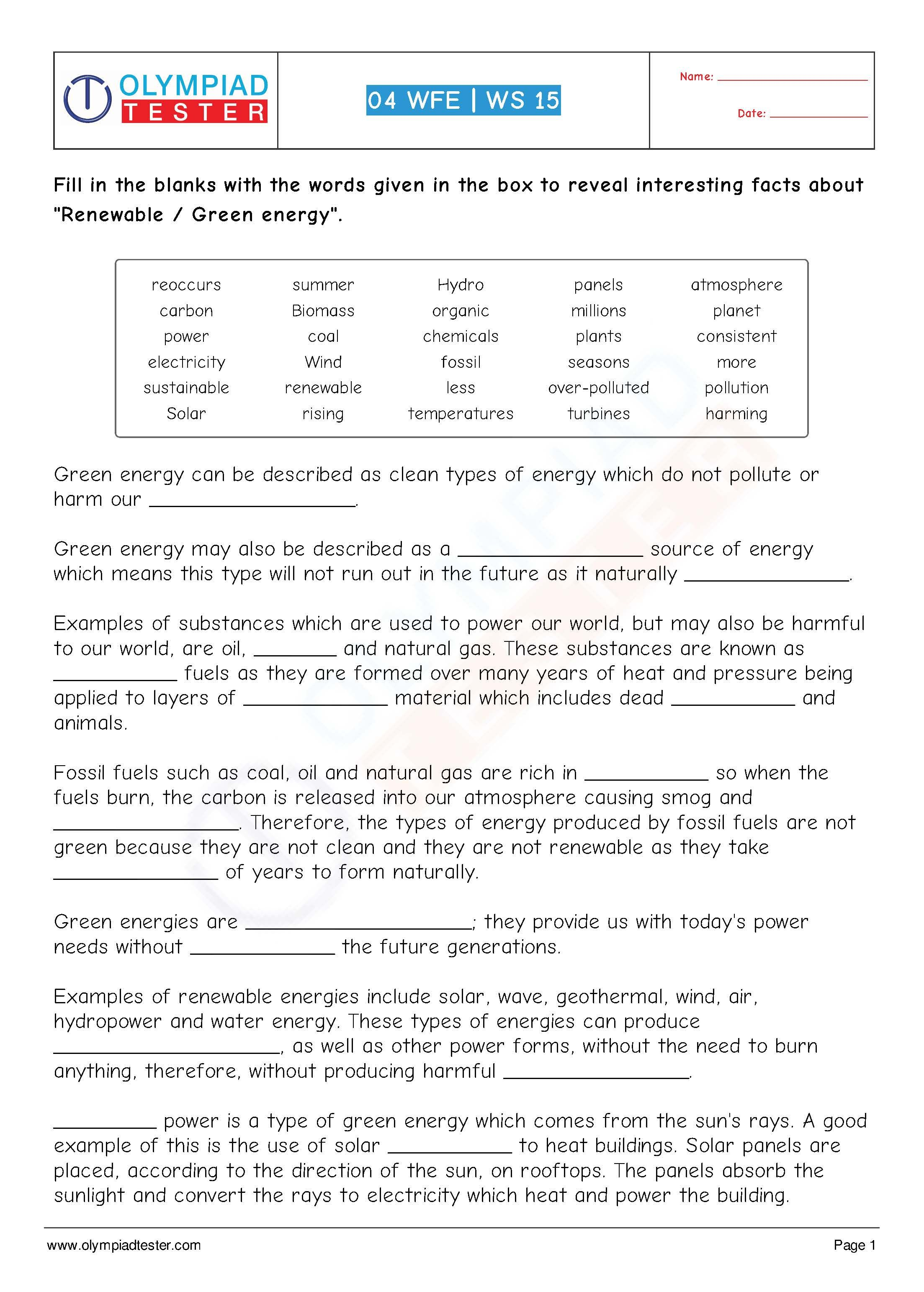 Download Grade 4 Science worksheet (cloze) of Olympiadtester on the ...