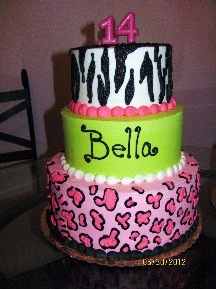 Neon Animal Print Tiered Cake Cake Animal Print Examples 4