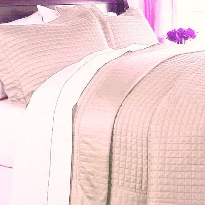 Hotel Style 400tc Modern Solid Pink Egyptian Cotton Quilt Coverlet And  Shams Set King Size