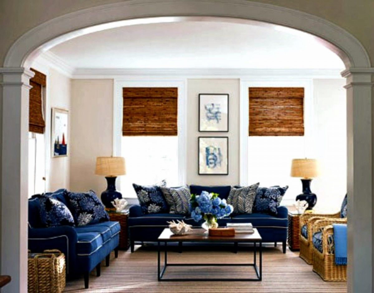 wood blinds with navy and tan | Living room 1 | Pinterest | Navy ...