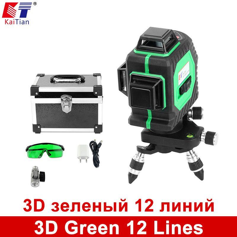 Kaitian 3d Green 12 Lines Laser Level With Tilt Slash Function 360 Rotary Horizontal Vertical Self Leveling Outdoor Laser Beam Laser Levels Green Laser Laser