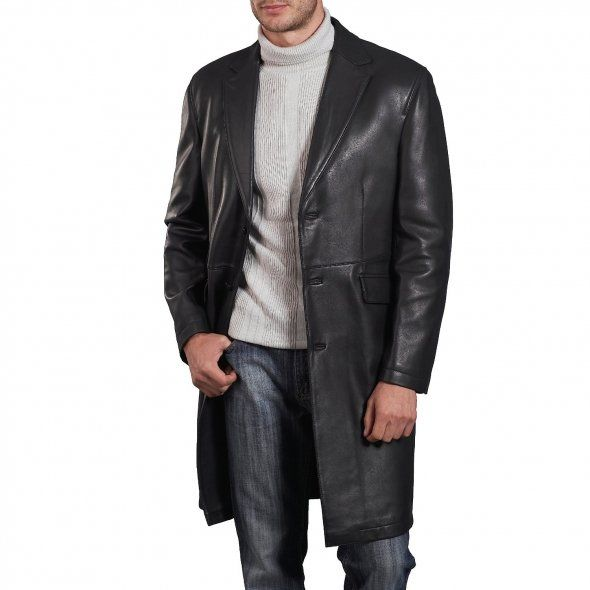 Expensive Leather Coats for Men | lambskin black leather long coat ...