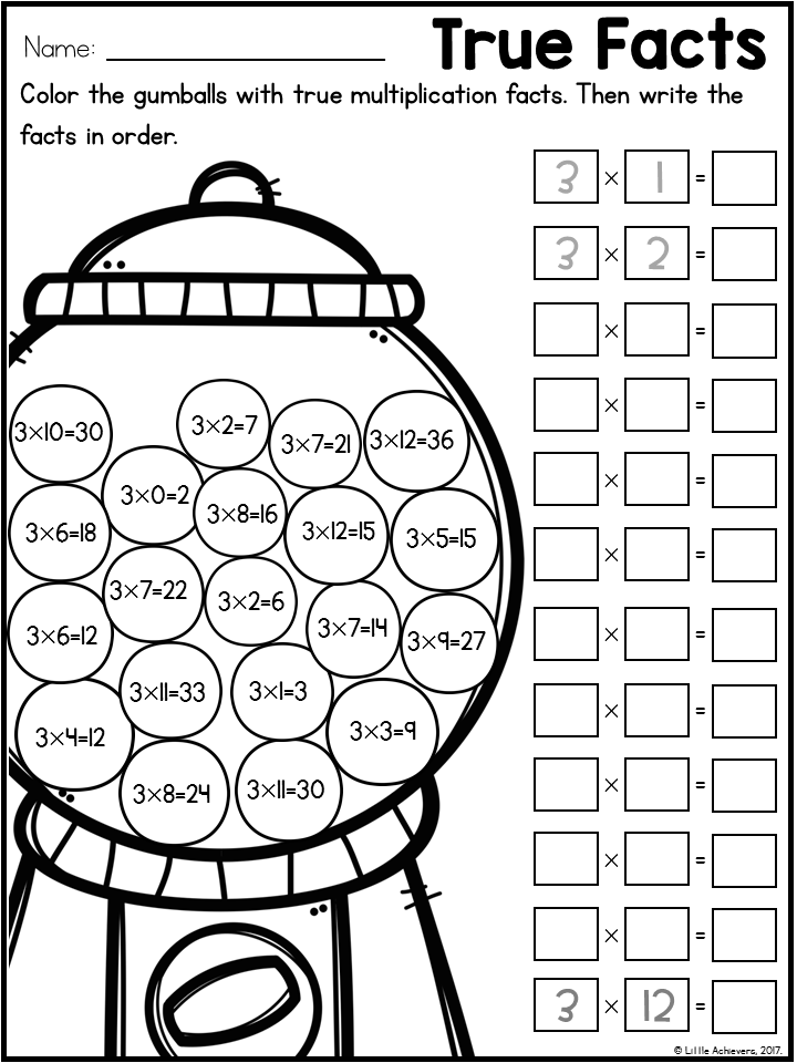 Multiplication Worksheets| Multiplication Facts Practice