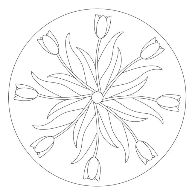 frühlingsmandala mit tulpen 1  disegni di mandala da