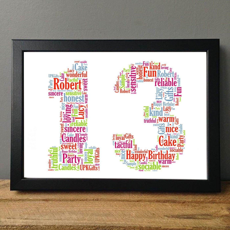 Birthday personalised gift word art gift keepsake 13th