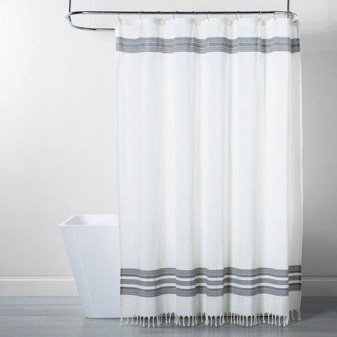 Stripe Fringe Shower Curtain White Gray Threshold With Images
