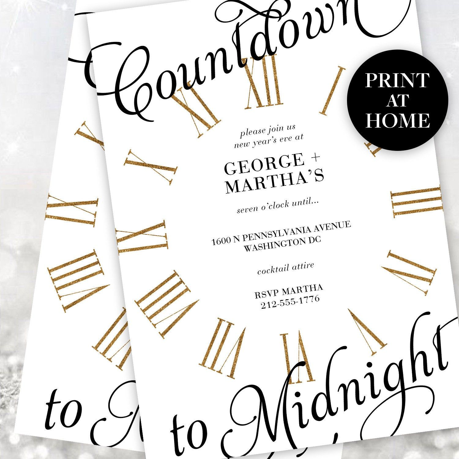 New Year's Eve Party Invitations Instant Download