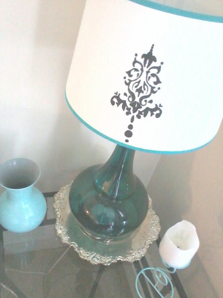 Diy damask teal lampshade painted my lamp shade today with martha diy damask teal lampshade painted my lamp shade today with martha stewarts aloadofball Gallery