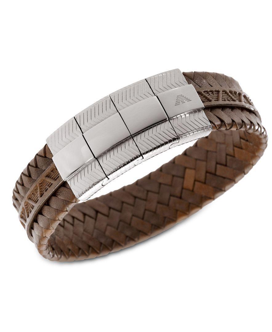 9a4bedd5a Emporio Armani Men's Bracelet, Braided Brown Leather Bracelet EGS1535040