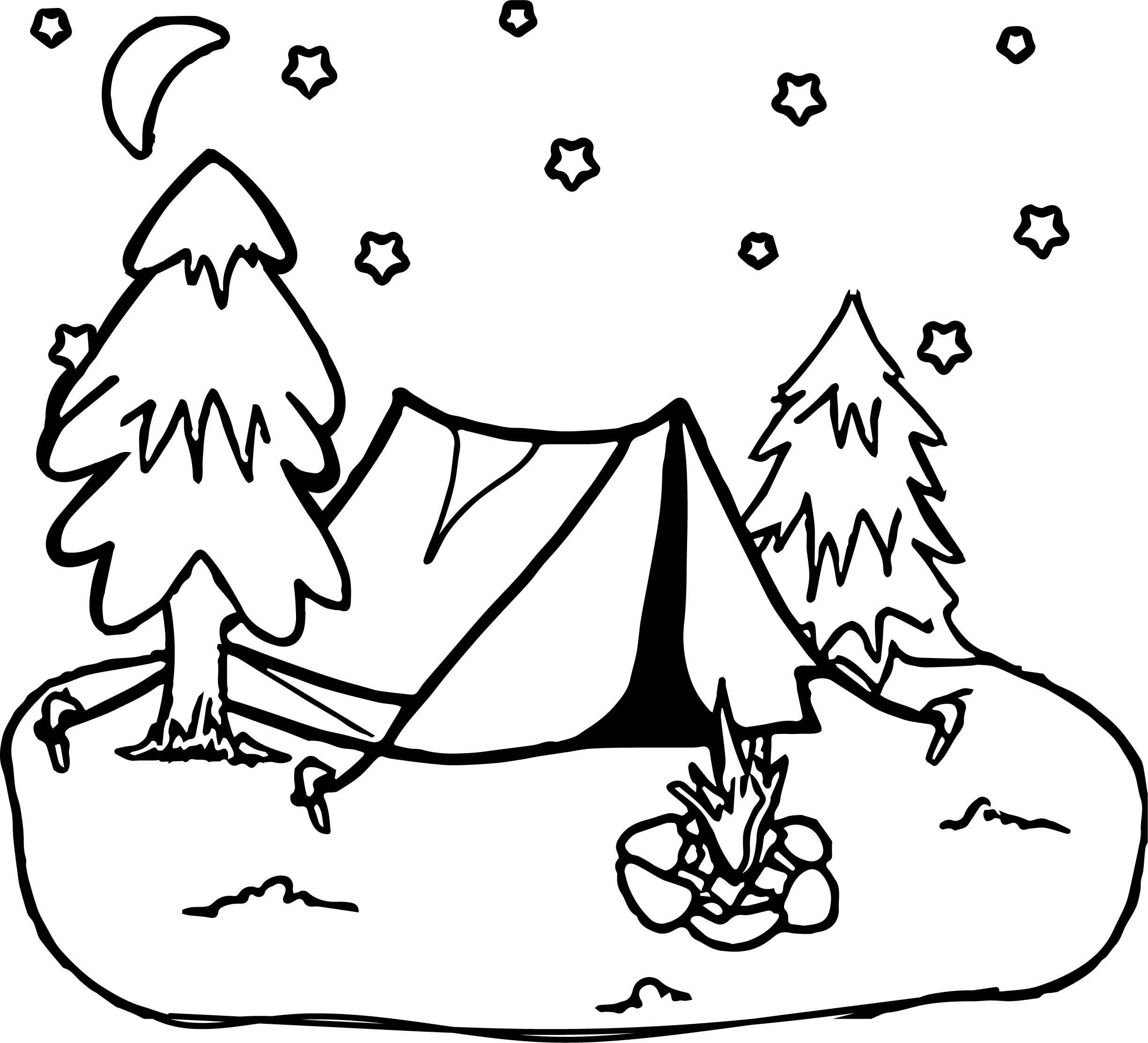 Cool Camping Night Stars Coloring Page Desenhos