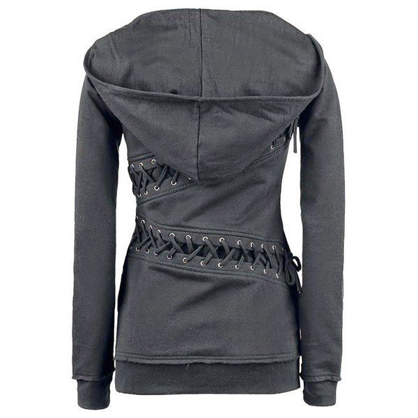 52aeaeccb3 I like this hoody and the one with the side zippers )  19.99 Trendy Hooded Long  Sleeve Lace-Up Solid Color Women s Hoodie