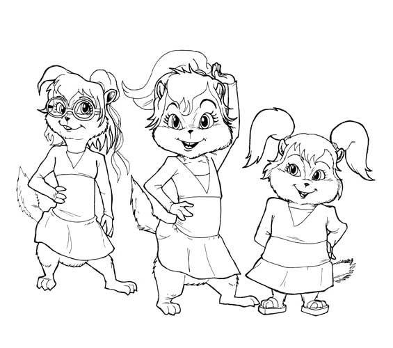 three chipmunks girl coloring page  malvorlagen für