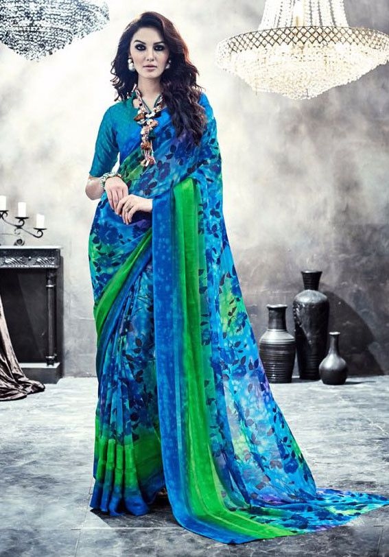 7972a1e2be1 Shaded Blue and Lime Green Digital Print Saree