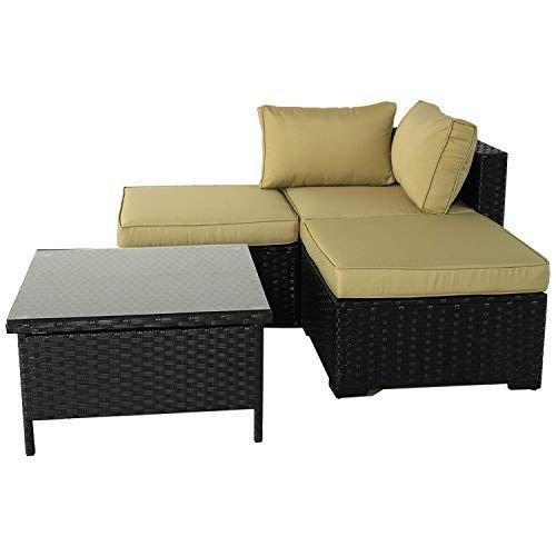 VALITA Patio PE Wicker Furniture Set 4 Pieces Outdoor Black Rattan Sectional Conversation Sofa Chair with Olive Green Cushions#black #chair #conversation #cushions #furniture #green #olive #outdoor #patio #pieces #rattan #sectional #set #sofa #valita #wicker