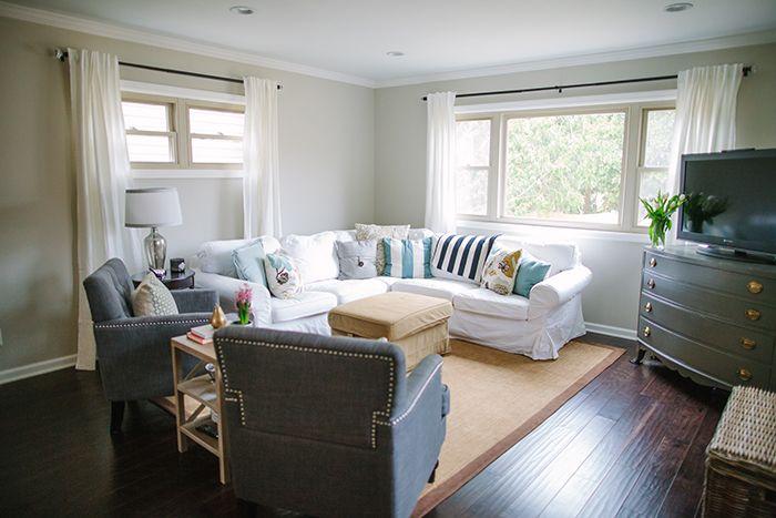 Gray and Blue Family Room #overstock distressed hardwood floors - ikea ektorp gra