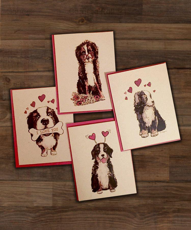 Set of 4 Bernese Mountain Dog Valentines Cards  Berner Bundle