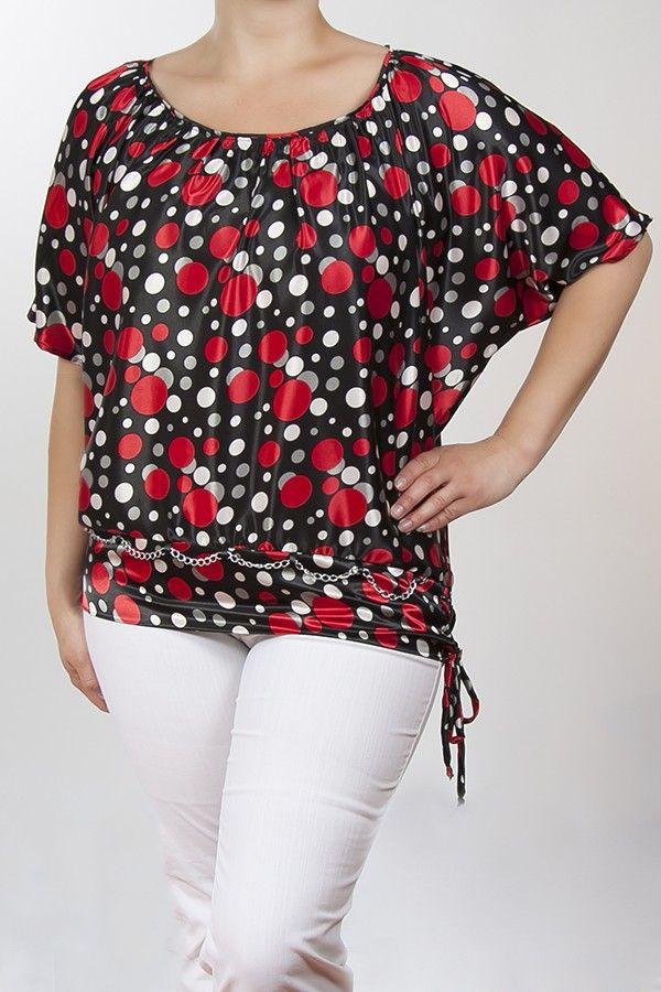ee553869dc Selly szatén blúz - piros-pöttyös | Plus Size Fashion in 2019 ...