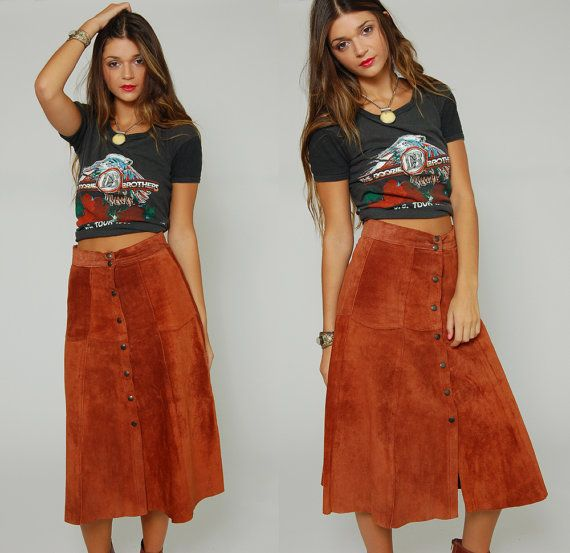 Vintage 70s Suede Skirt Caramel Boho Leather Patchwork Festival ...