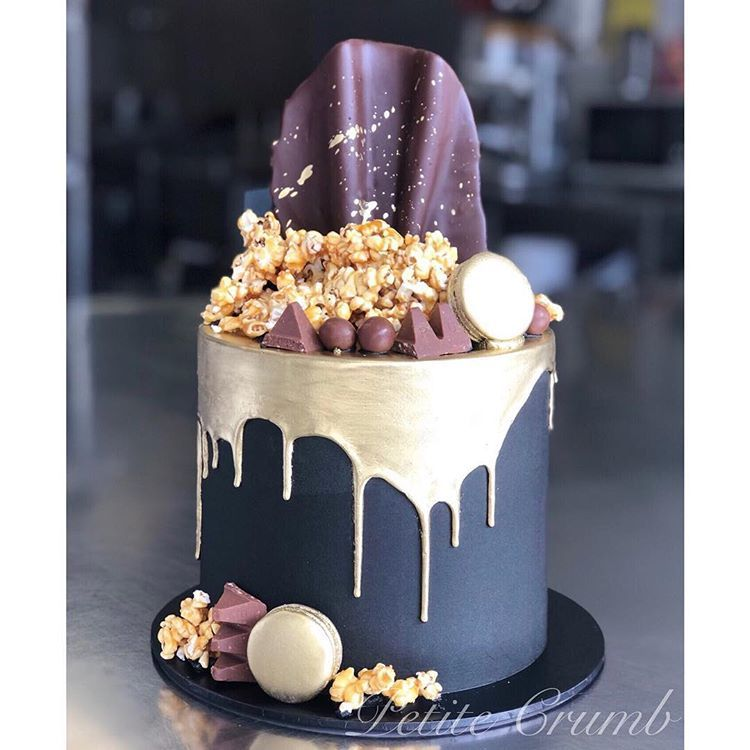 Black and gold insid with images 21st birthday cakes