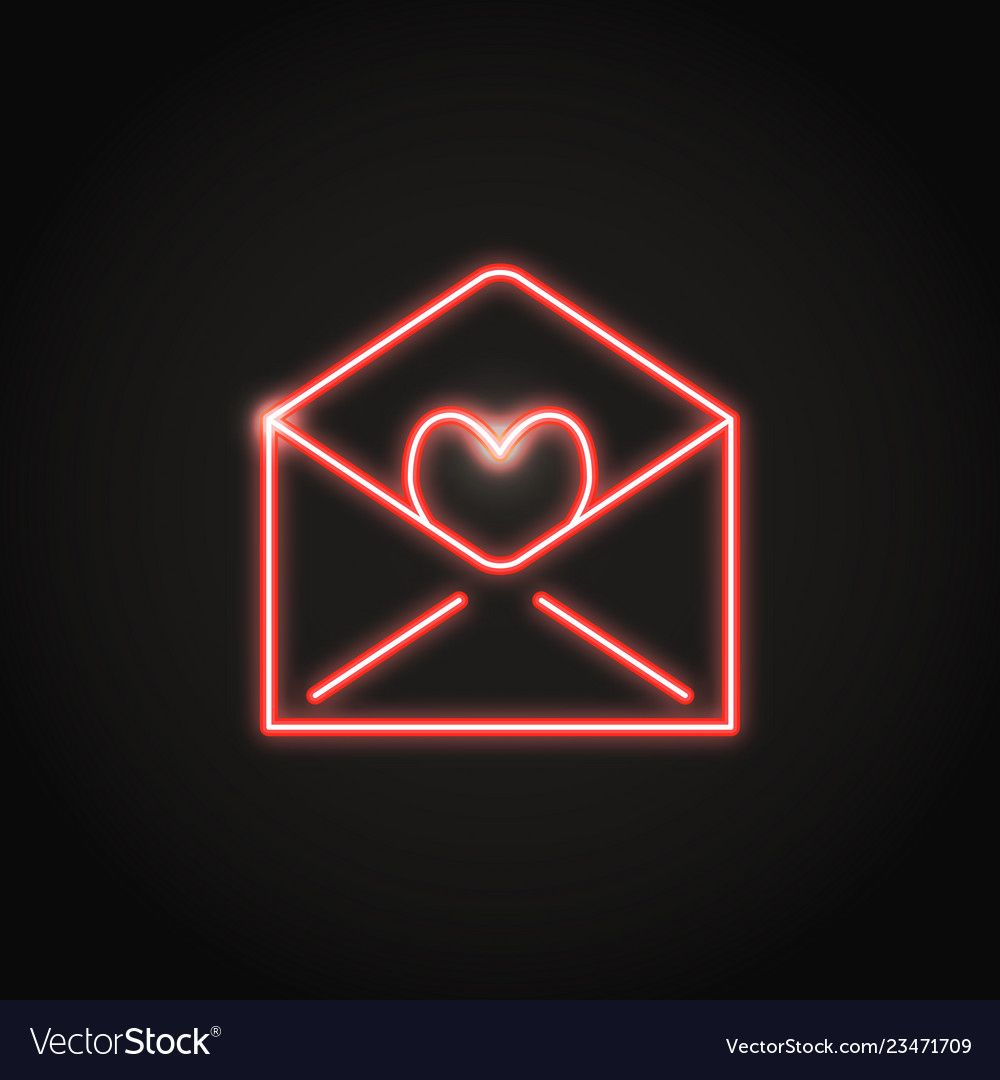 Neon Mail Icon In Line Style Shining Holiday Envelope With Heart Symbol Vector I Wallpaper Iphone Neon New Wallpaper Iphone Iphone Wallpaper Tumblr Aesthetic