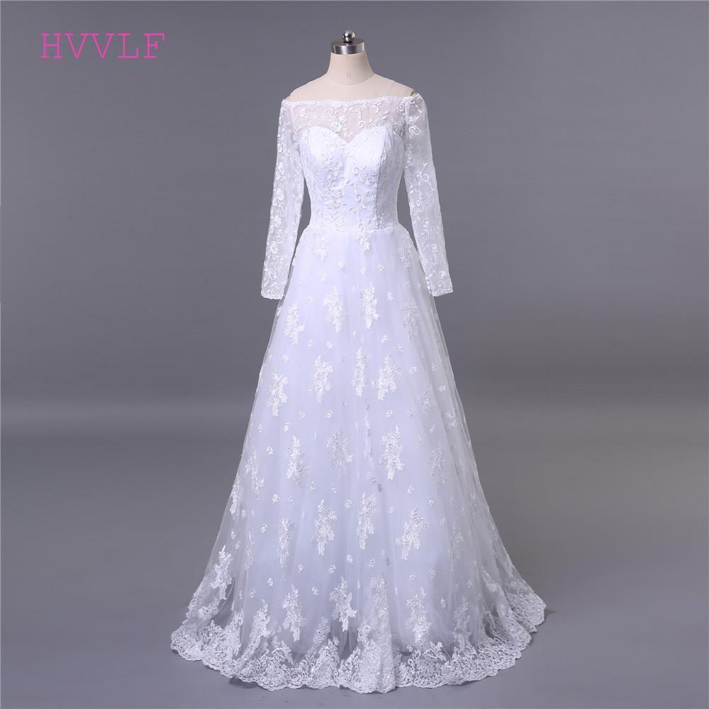 5e3f46ef256 Lace Vestido De Noiva 2018 Muslim Wedding Dresses A-line Boat Neck Long  Sleeves Lace Applique Cheap Wedding Gown Bridal Dresses