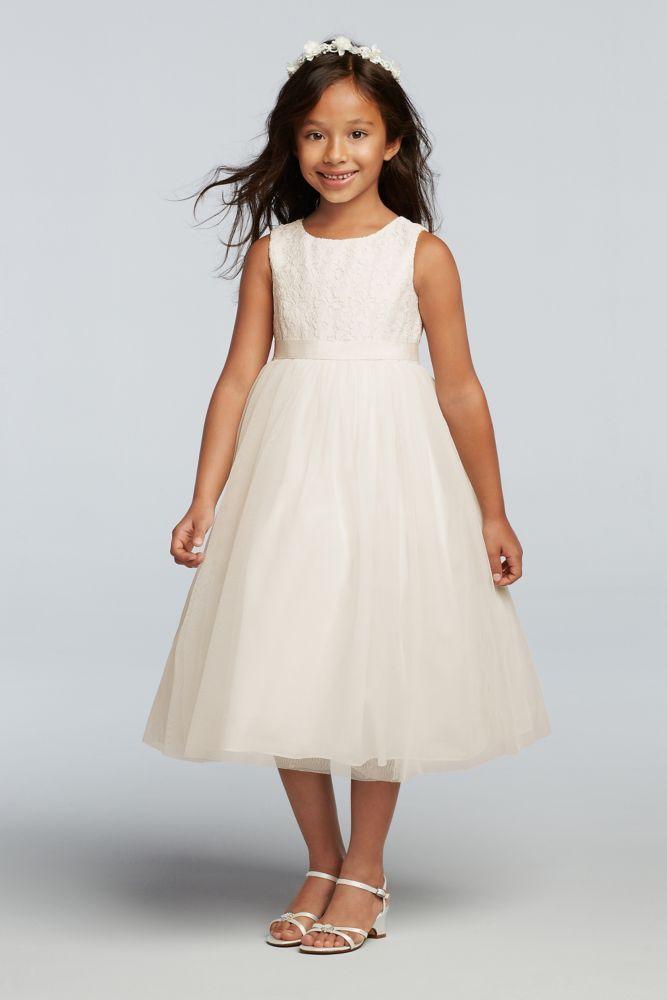 Lace and Mesh Tank Flower Girl Dress - White, 12   *David\'s Bridal ...