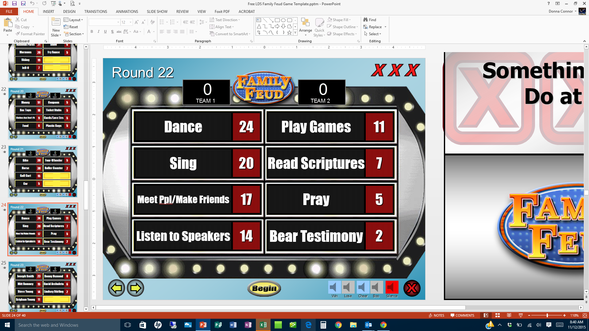Free Lds Family Feud Game Template Screen Shot Church Pinterest