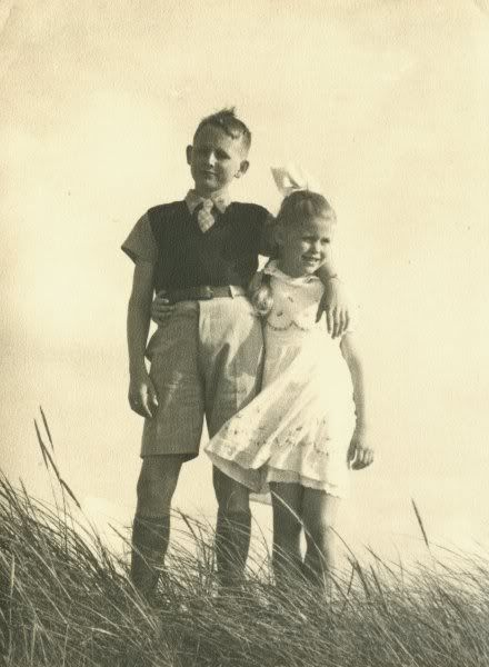 Brother and sister vintage snapshot photo