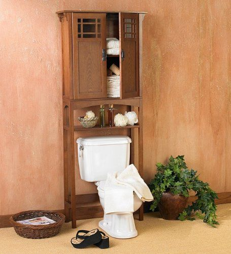 CONNOR Bath SPACESAVER Mission OAK Over Toilet Storage Bathroom - Oak bathroom cabinets over toilet for bathroom decor ideas