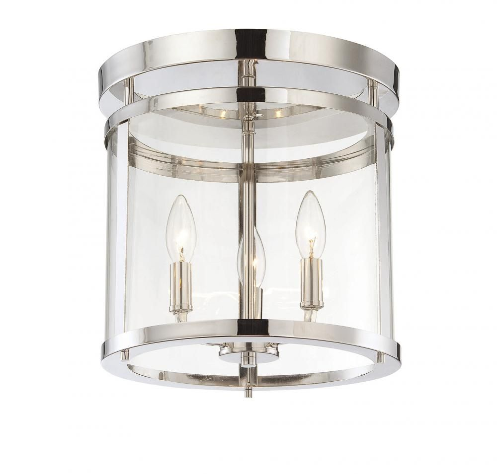 Three light clear glass polished nickel drum shade semi flush mount three light clear glass polished nickel drum shade semi flush mount 1jkuf hermitage aloadofball Gallery