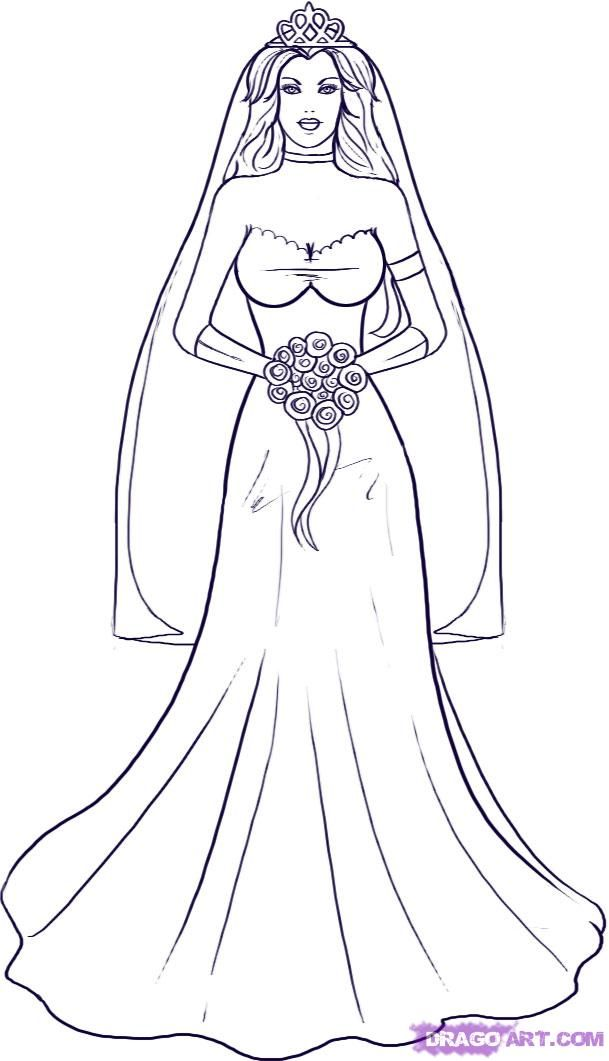 Bride Coloring 9 Free Coloring Page Site Coloring Pages Outline Drawings Drawings