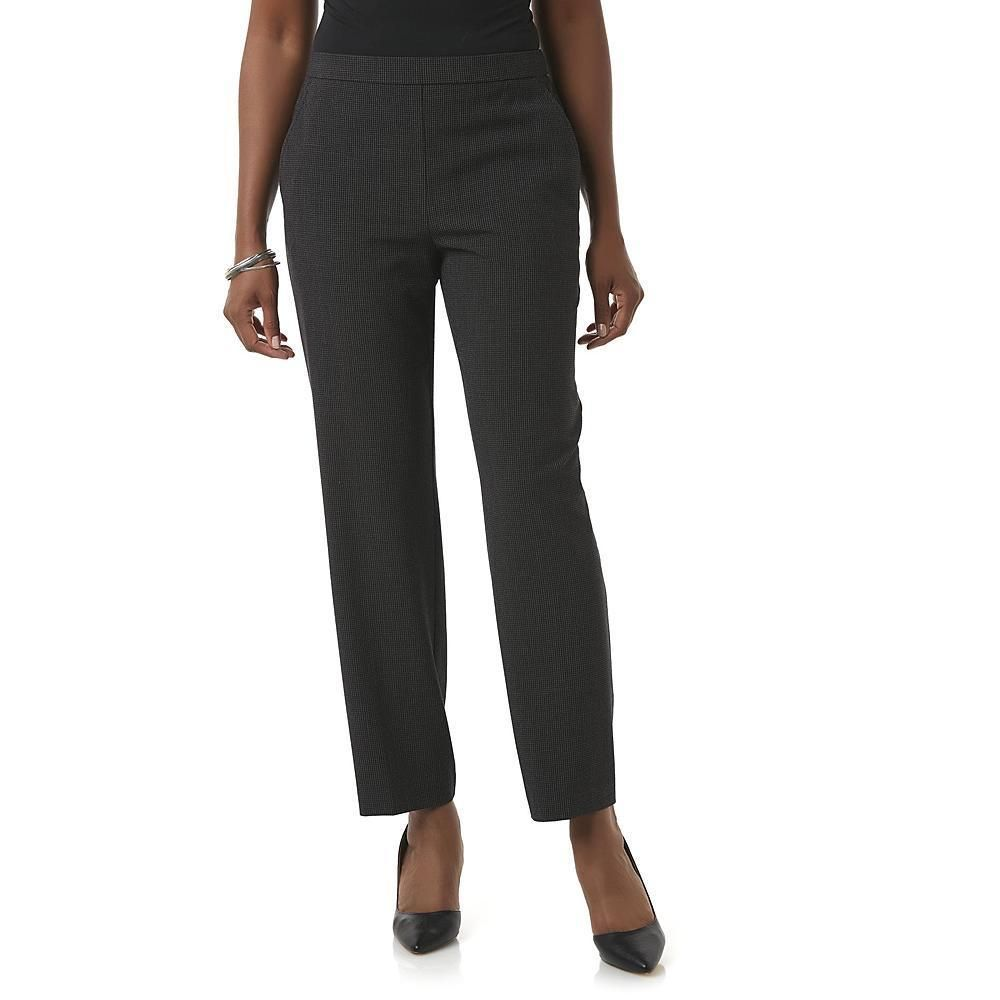 8c1d8a2322 Briggs Womens Dress Pants Slimming Pull On Black Textured size 14 18 NEW  https:/