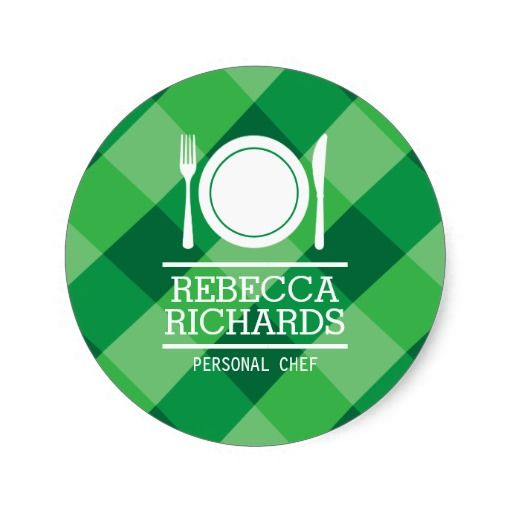 Fork plate knife logo on green gingham personalized stickers for catering chefs home made goods food delivery and more personalize with your own name