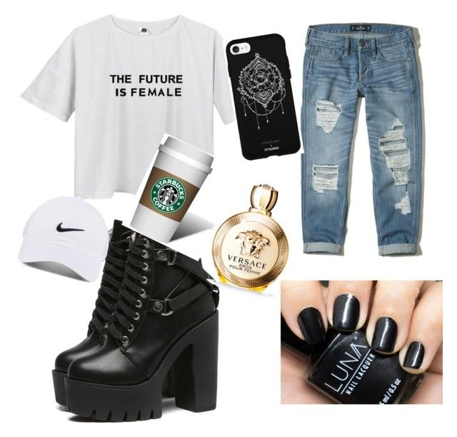 """""""Untitled #8"""" by kholofelomokgohloa on Polyvore featuring Hollister Co., Versace, Fifth & Ninth and NIKE"""