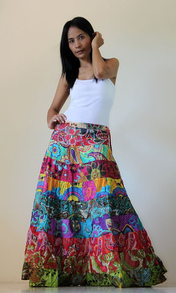 c573fb556 colorful gypsy patchwork skirt | Summer Fashion in 2019 | Maxi skirt ...