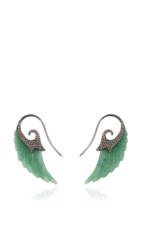 Fly Me To The Moon Aventurine Wing Earrings by Noor Fares for Preorder on Moda Operandi