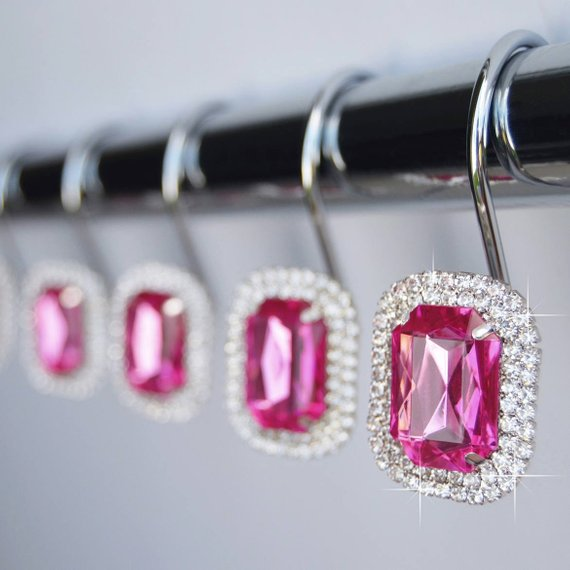 Shower Curtain Hooks Rings Luxurious Fuchsia Hot Pink Decorative