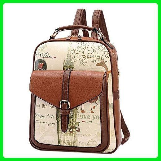 Catkit Korea Womens Graffiti Printed Tote Handbag Shoulder Backpack