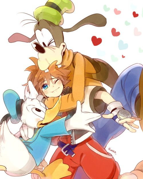 Goofy And Donald Anime Version: Donald, Sora, Goofy