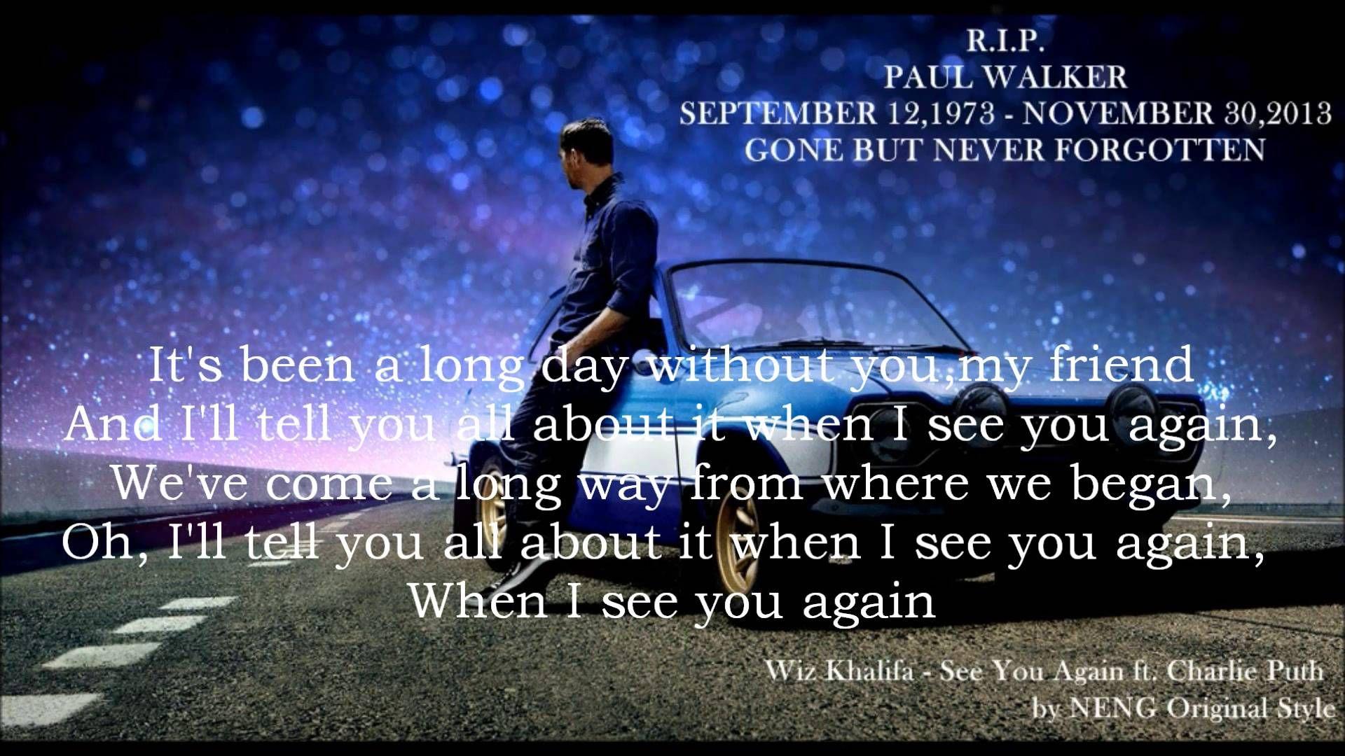 See You Again - Wiz Khalifa (LYRIC VIDEO) HD - Feat. Charlie Puth