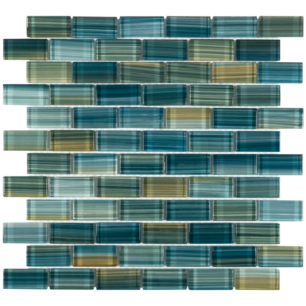 Mto0618 Modern 1x2 Staggered Brick Green Blue Glossy Glass Mosaic Tile In 2020 Mosaic Glass Mosaic Tiles Glass Mosaic Tiles