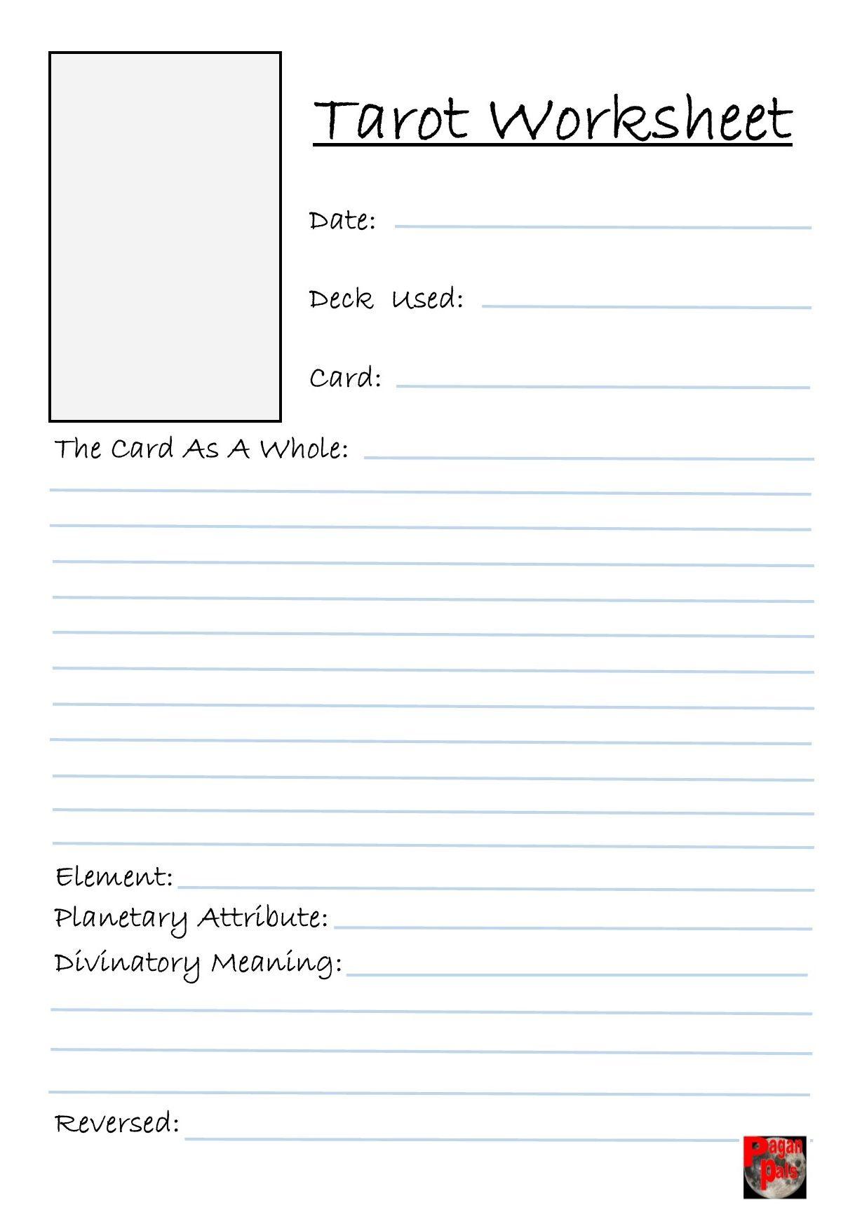Pagan Pals Own Tarot Worksheet Book Of Shadows Page