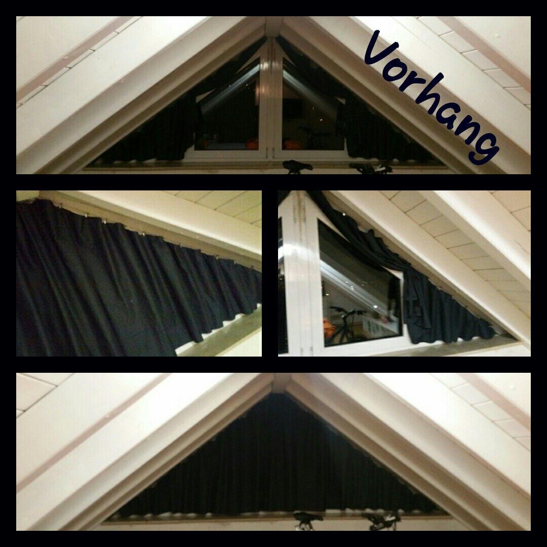 Da Es Einen Vorhang Fur Ein Dreiecksfenster Nicht Zu Kaufen Gibt Habe Ich Zur Nahmaschine Gegriffen Der Stoff Dreiecksfenster Vorhange Dachschrage Gestalten