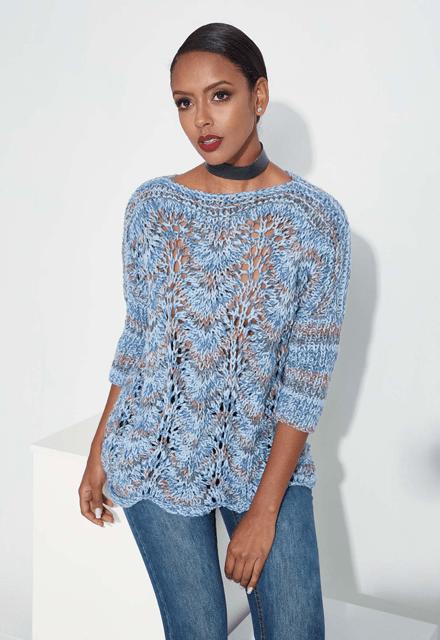 Le pull aquarella bleu au tricot - La Grenouille Tricote